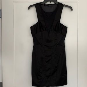 AllSaints Size2 Emi Dress Black Satin Sheer Panels
